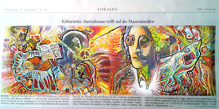 Presse Massurrealismus massurrealism robsky christine dumbsky robert heizenröther, music and art, we paint a song, wir malen songs/lieder woodstock, bob dylan, jim morrisin, janis joplin, carlos santana, hendrix, john lennon, rod stewart, herbert grönemeyer, frank zappa, imagine, light my fire, samba pa ti , desire, titties and beer, free, all right now, prince purple rain, under pressure david bowie, freddy mercury queen, we will rock you, bob dylan knockin on heavens door in memory of kurt